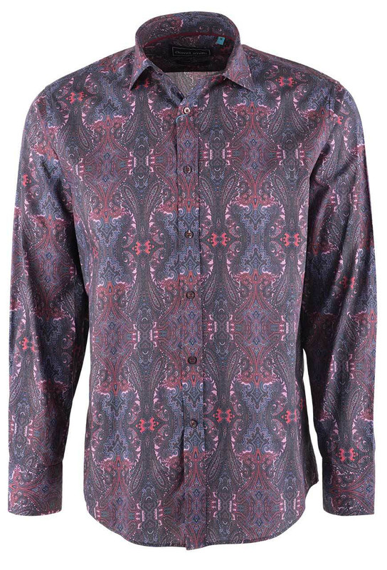 David Smith Men's Dusk Paisley Print Shirt - Front