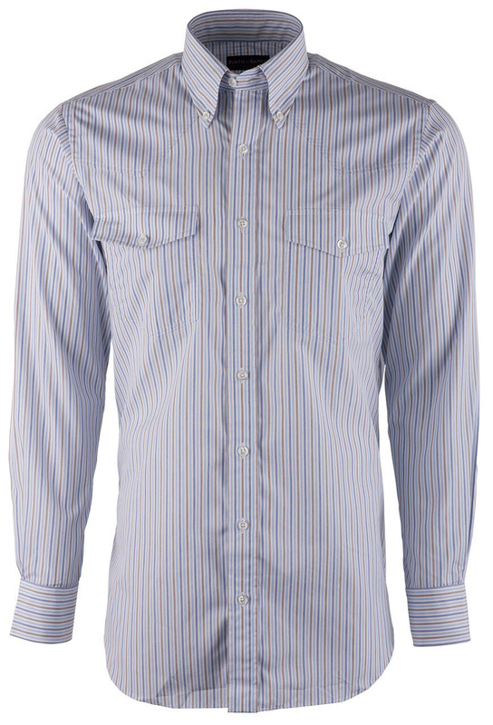 Pinto Ranch YY Collection Blue Brown Striped Poplin Shirt - Front