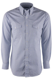 Pinto Ranch YY Collection Blue Tan Check Shirt - Front