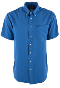 Cinch Men's Solid Blue ArenaFlex Short Sleeve Shirt - Front