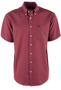 Cinch Men's Red Mini Foulard ArenaFlex Short Sleeve Shirt - Front