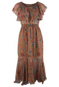 Molly Bracken Camel Off Shoulder Ruffle Dress - Front