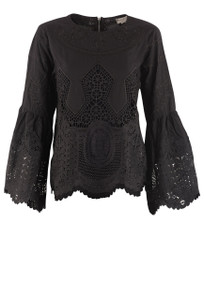 Molly Bracken Lace Embroidered Statement Sleeve Top - Black - Front