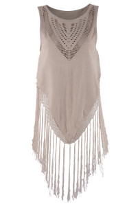 Brooke & Goldie Eve Poncho with Fringe - Front
