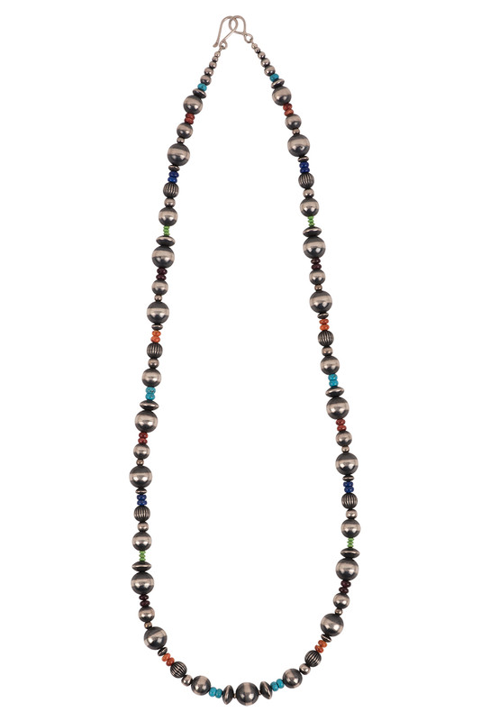 Turquoise Moon Long Multi-color Bead and Navajo Pearl Necklace - Front
