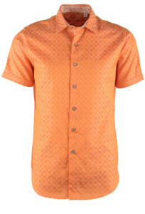 Robert Graham Diamante Orange Short Sleeve Shirt - Front