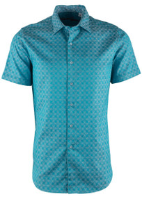 Robert Graham Diamante Teal Short Sleeve Shirt - Front