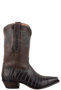 Tony Lama Signature Series Women's Turquoise Infused Nile Crocodile Belly Cowboy Boots - Side