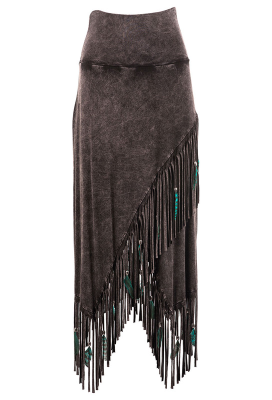 PAT DAHNKE WOMEN'S FRINGE FEATHER CRISS CROSS SKIRT