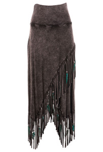 Pat Dahnke Women's Fringe Feather Criss Cross Skirt - Front