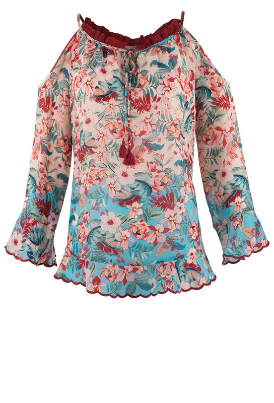 Johnny Was Oceane Cold Shoulder Top - Front