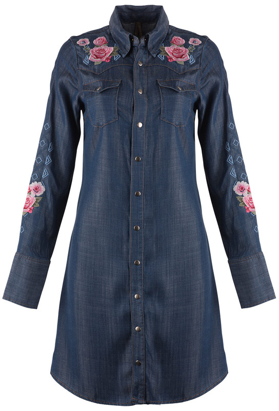 Stetson Tencel Denim Embroidered Snap Dress - Front