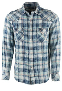 Ryan Michael Men's Indigo Pick Stitch Plaid Shirt  - Front
