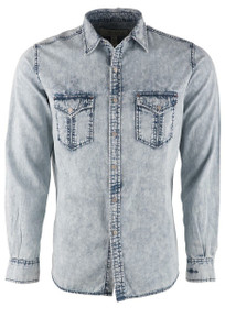 Ryan Michael Men's Indigo Distressed Edge Shirt - Front