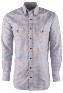 Lyle Lovett Men's Blue Twill Check Shirt - Front