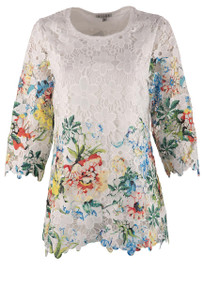Adore White Lace Green Floral Top - Front