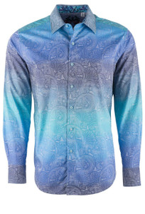 Robert Graham Blue Hardwicke Fade Shirt - Front