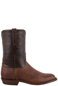 Lucchese Men's Executive Mocha Bison Roper Boots - Side
