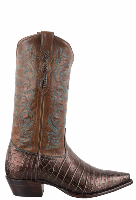 Tony Lama Signature Series Women's Bronze and Turquoise Nile Crocodile Belly Cowboy Boots - Side