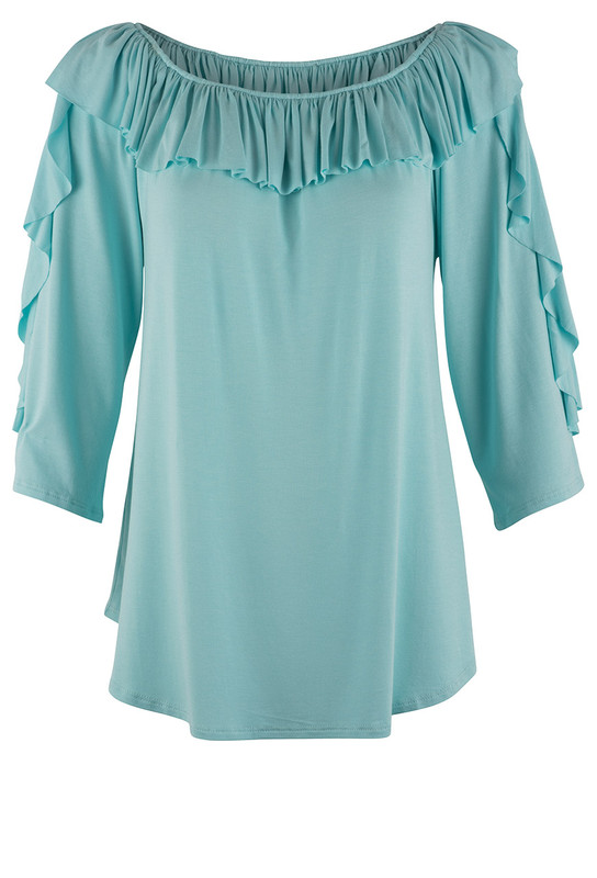 Apparel Love Knit Ruffle Top - Front