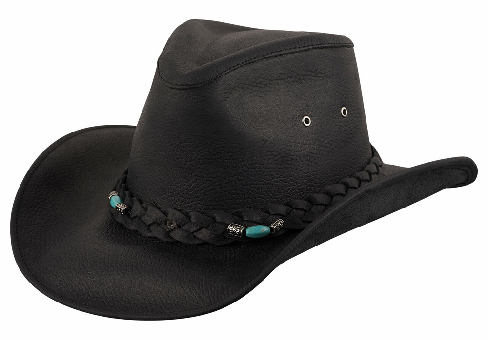 Bullhide Black Royston Leather Hat - Side