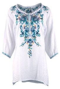 Adore White Turquoise Floral Embroidered Top - Front