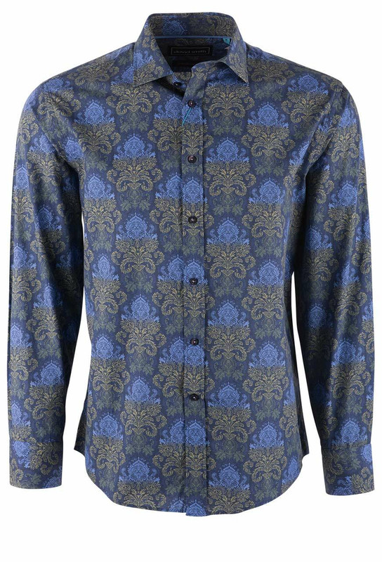 David Smith Royal Foxtrot Print Shirt - Front