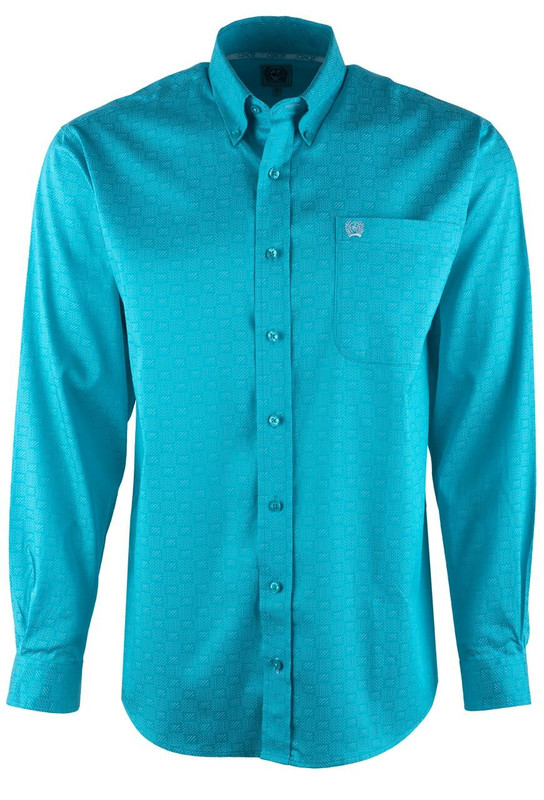 Cinch Turquoise Sleet Tencel Sport Shirt - Front