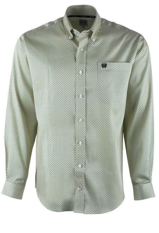 Cinch Yellow Tencel Blocks Sport Shirt - Front
