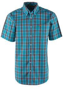 Cinch Turquoise Plaid Sport Shirt - Front