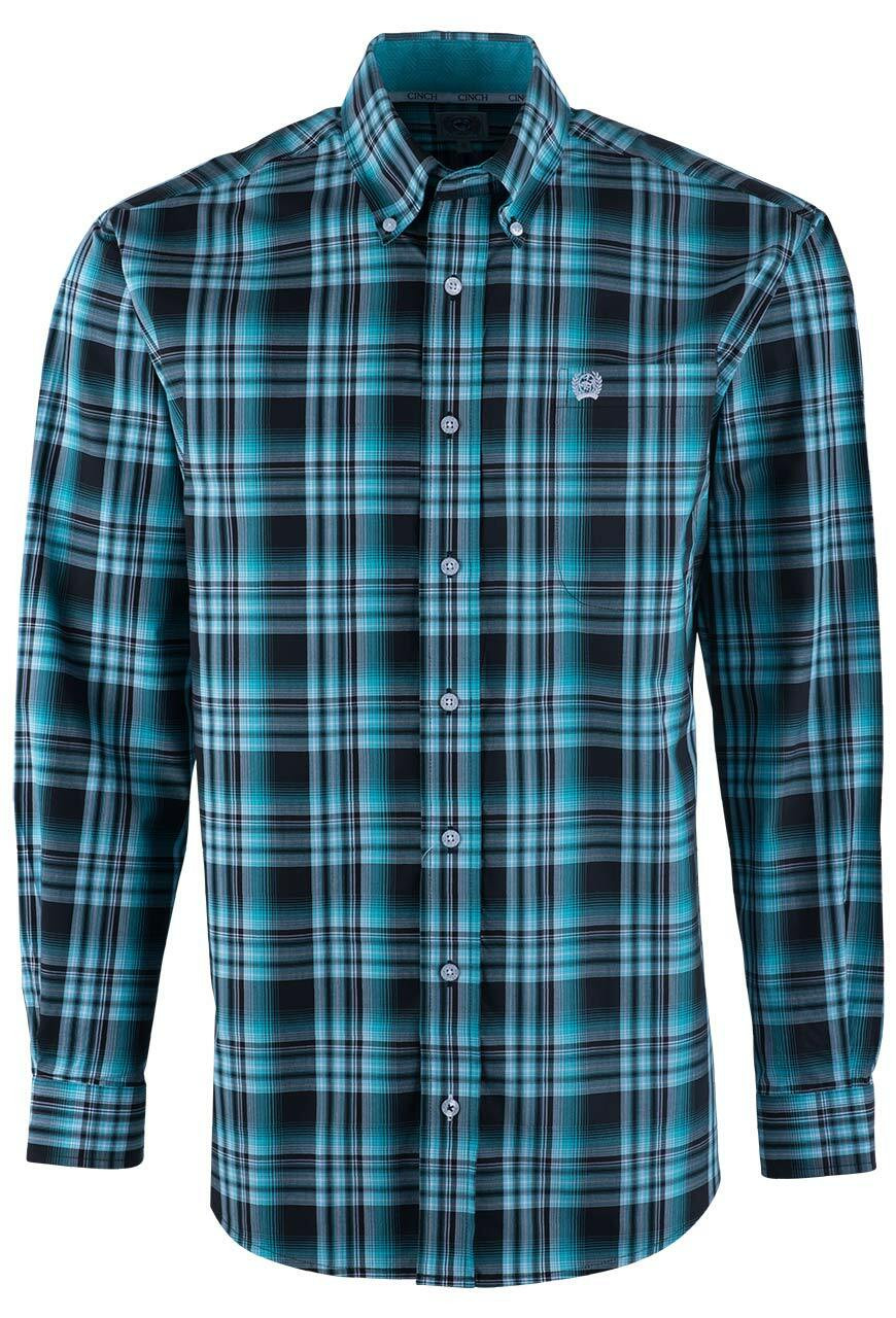 c9d508994 Cinch Black and Turquoise Plaid Sport Shirt