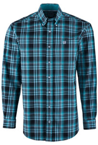 Cinch Black and Turquoise Plaid Sport Shirt - Front