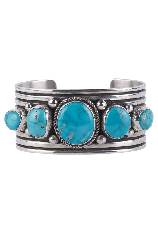 Turquoise Moon 5 Stone Blue Turquoise Cuff - Front