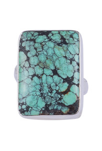 Max Lang Square Green Turquoise Adjustable Ring- Front