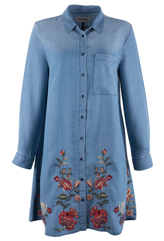 Driftwood Long Sleeve Tunic Dress with Flower Embroidery - Front