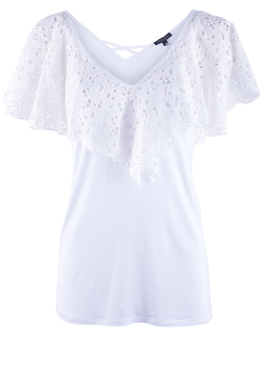 Alberto Makali Big Lace Collar Jersey Top - Front