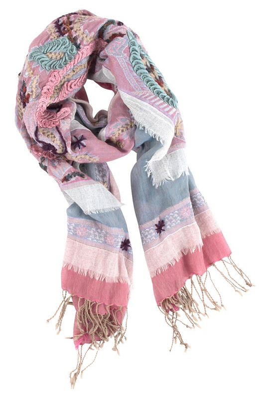 David Jeffrey Pink and Gray Cotton Shawl