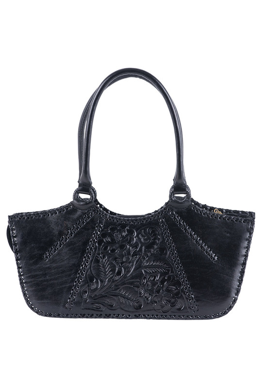 Hide and Chic Valentina Tooled Handbag  - Black - Front