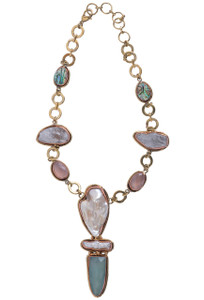 David Jeffrey Mother of Pearl, Rose Quartz, and Abalone Necklace