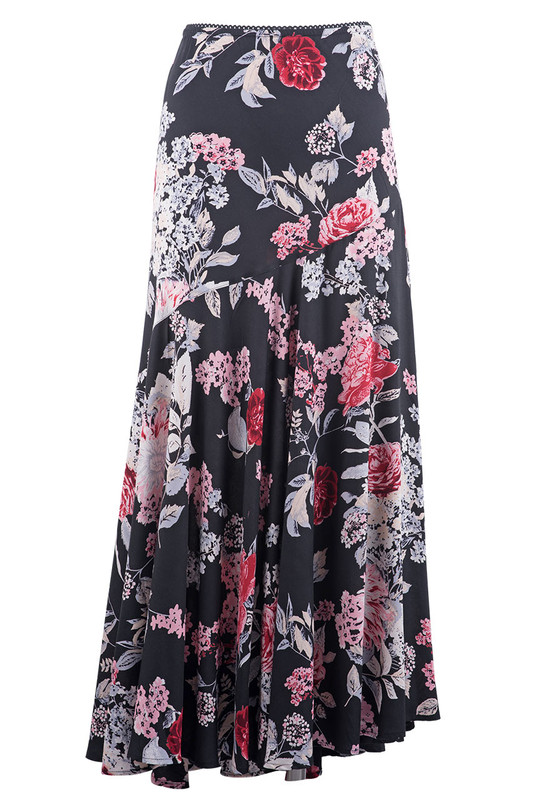 Lola P Floral Pink and Red Floral Skirt - Front