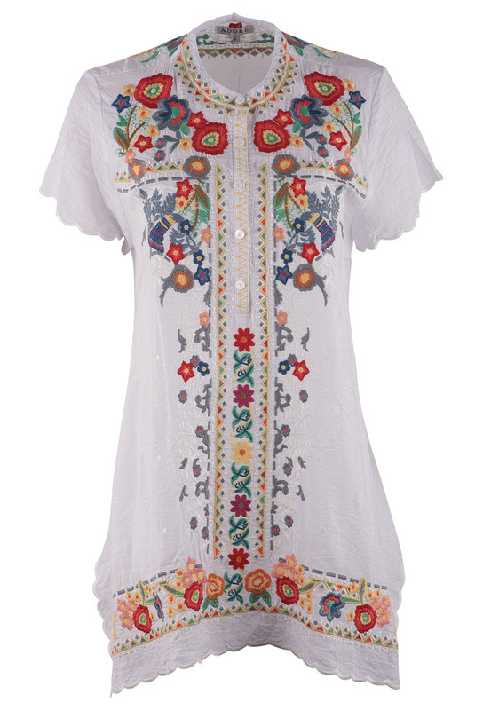 Adore Short Sleeve Tunic with Multi-Colored Floral Embroidery - Front