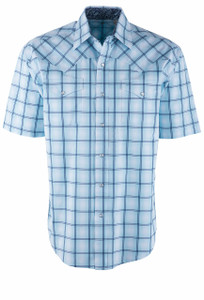 Stetson Blue Windowpane Ombre Plaid Short Sleeve Snap Shirt - Front