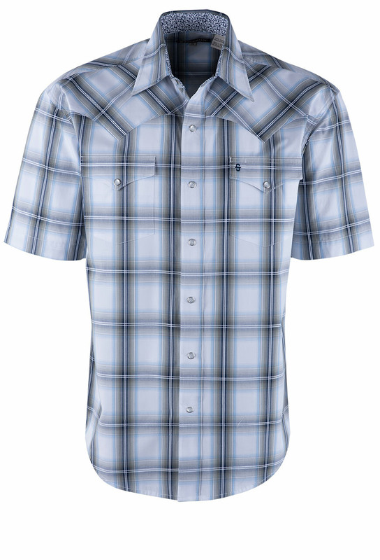 Stetson Blue Navy Plaid Short Sleeve Snap Shirt  - Front