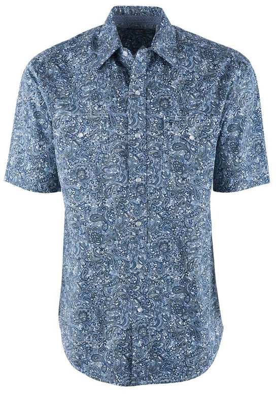 Stetson Blue Marble Paisley Print Short Sleeve Snap Shirt  - Front