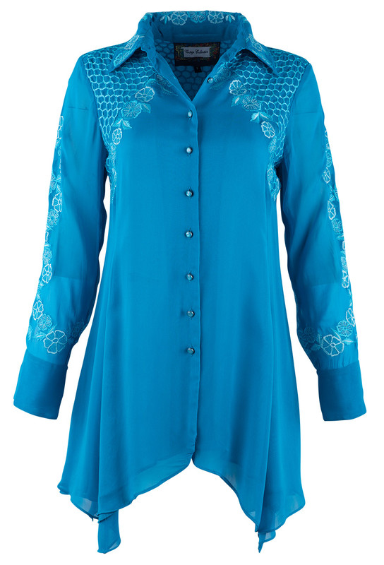 VINTAGE COLLECTION TONAL TURQUOISE FLORAL TUNIC