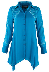 Vintage Collection Tonal Turquoise Floral Tunic - Front