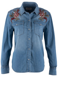 Driftwood Lana Western Rose Denim Snap Shirt - Front