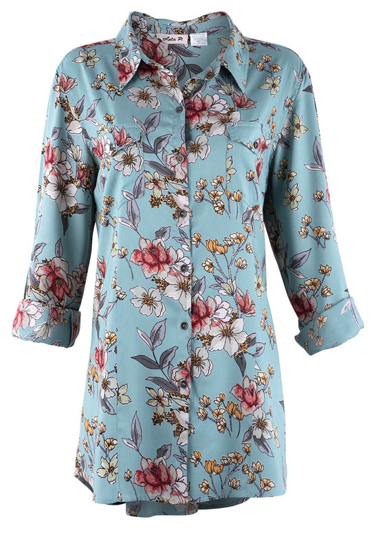 Lola P Floral Teal Floral Blouse  - Front