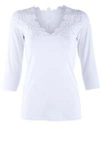 Arianne 3/4 Sleeve Top With Lace - Front
