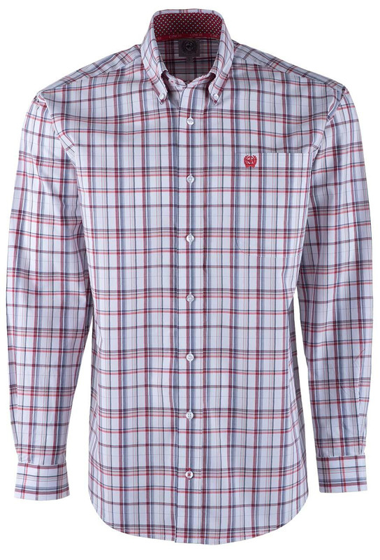 Cinch Red and Blue on White Plaid Sport Shirt - Front